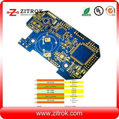 Blue Soldermask 1.6mm Thick Multi-layer 6L PCB Board