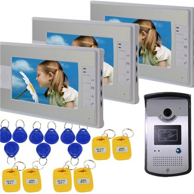 TS-YP816MMEID13 Wired With Night Vision Camera,92 Degrees Wide Visual Angle,hands-free Talkback Function (with 3 Monitors) 7 Inch Video Door Phone Doorbell Intercom Kit