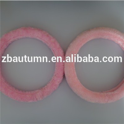 Pink Long Velvet Steering Wheel Cover
