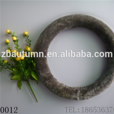 Gray Long Velvet Steering Wheel Cover