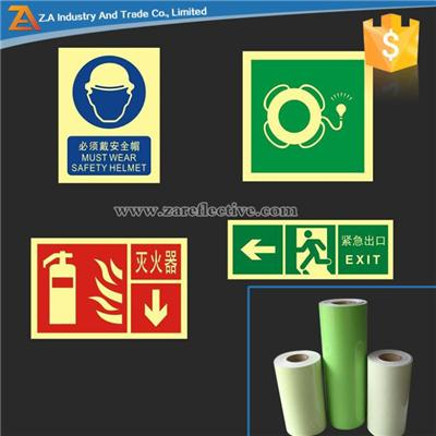 DIN67510 Self Adhesive Acrylic Material Photoluminescent Sticker For Warning Signs