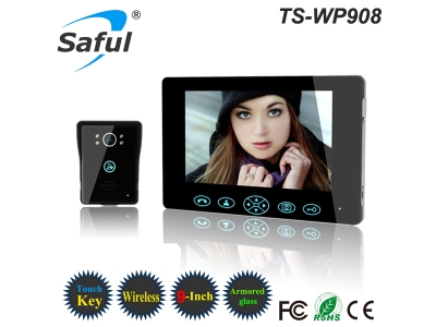 Saful TS-WP908 1V1 2.4GHz Digital 9 inch Wireless Video Door Phone Doorbell Kit Home Security System Night Vision