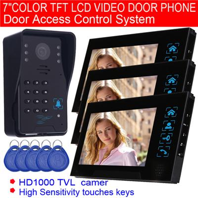 7 Color TFT LCD Video Door Phone Door Access Control System