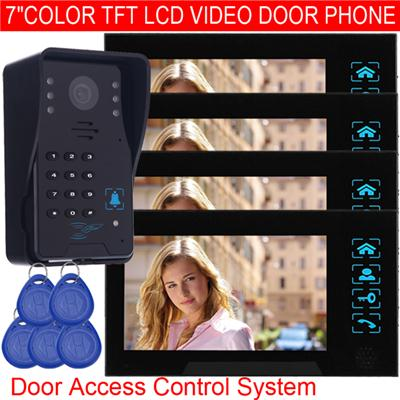 TS-806MJIDSN14 7 Color TFT LCD Video Intercom With Door Access Control System (id card + keyfobs)