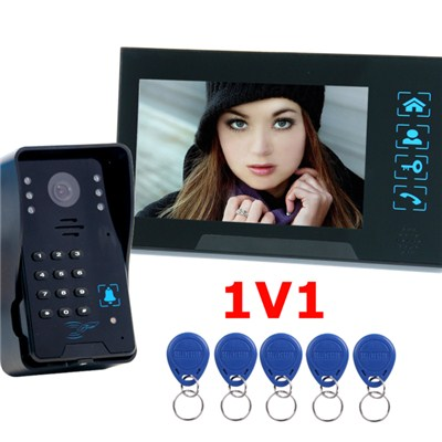 TS-806MJIDSN11 7inch Wired Video Door Intercom unlock by pin , id card