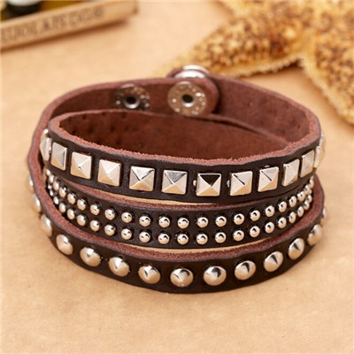 Leather Metal Studs Wrap Bracelet