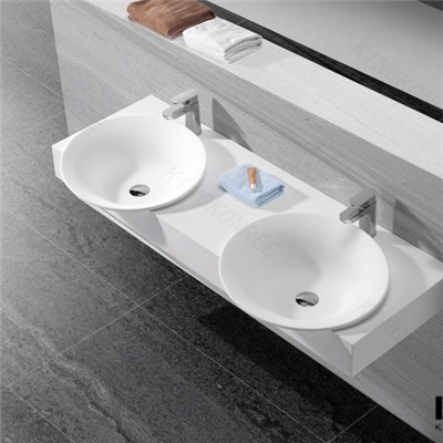 New Solid Surface Wall Mounted Wash Basin For Bathroom