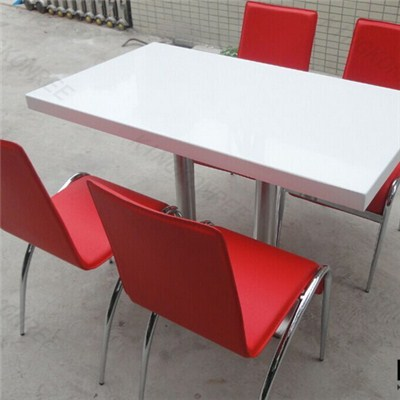 Pure White Solid Surface Food Court Dining Square Table