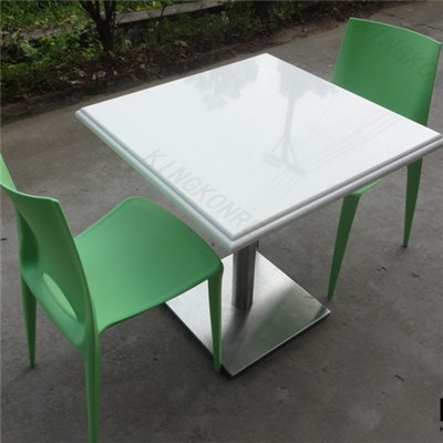 White Marble Solid Surface Square Dining Table For 2 People