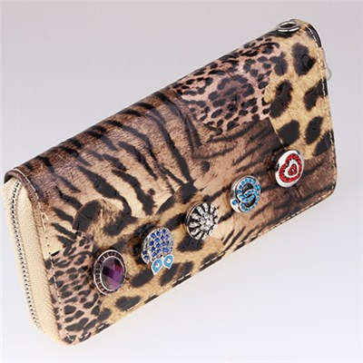 Classic Leopard Leather Snap Button Wallet