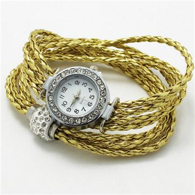 Gold Braided Watch Bracelet With Rhinestones Clasp Beads