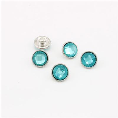12mm Facted Glass Cabohcon Covered Button Jewelry Snaps