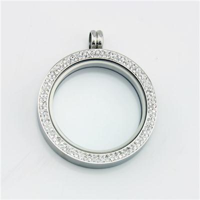 Large 38mm Silver Magnetic Living Locket With Crystals