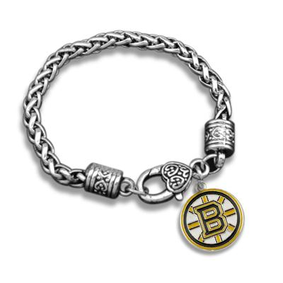Hot Antique Sliver NHL Charms Bracelet Enamel Boston Bruins Charm Bracelet