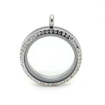 Large 38mm Screw Floating Lockets With Crystals