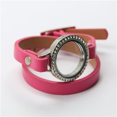 Pink Genuine Leather Wrap Bracelet With Alloy Floating Locket