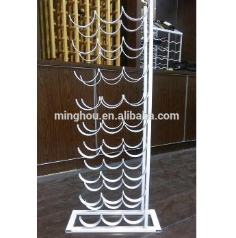 27 Bottle White Finishing Floor Metal Waved Wine Racks MH-MR-15038