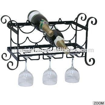 Wall Mounted Hanging Wine Rack With Wine Glass Holder MH-MR-15039