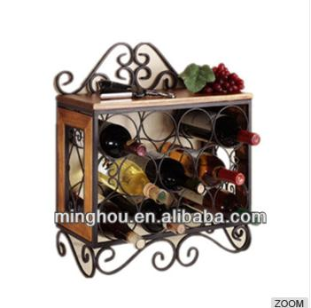 11 Bottles Antique Decorative Metal Wall Mounted Wine Rack MH-MR-15038
