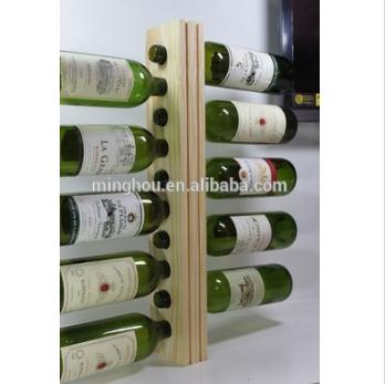 Natural Wood Wall Mounted Wine Rack For 10 Bottles MH-MR-15036