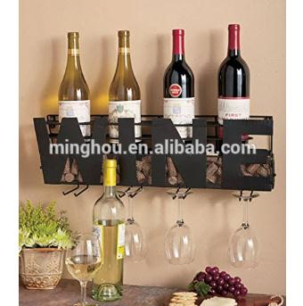 Decorative 4 Bottle Metal Wall Mounted Wine Rack With Glass Holder MH-MR-15032