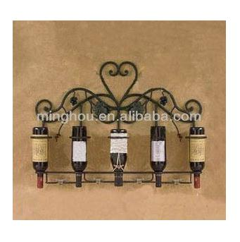 Fashionable Factory Wall Mounted Metal Wine Rack For Wine Storage MH-MR-15031