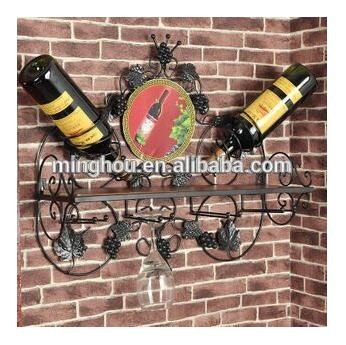 New Design! Black Metal Wall Mounted Wine Display Rack MH-MR-15011