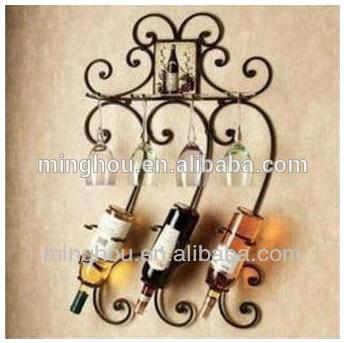 Elegant Antique Metal Wall Mounted Wine Rack MH-MR-15005