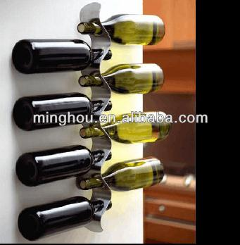 8 Bottle Unique Creative Stainless Steel Wall Mounted Wine Racks MH-MR-15017