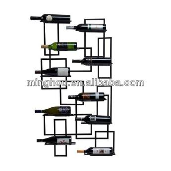 10 Bottle Decorative Metall Wall Mounted Wine Display Holder MH-MR-15022