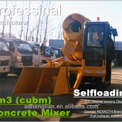 3m3 Mobile Mini Self Loading Concrete Mixer Truck