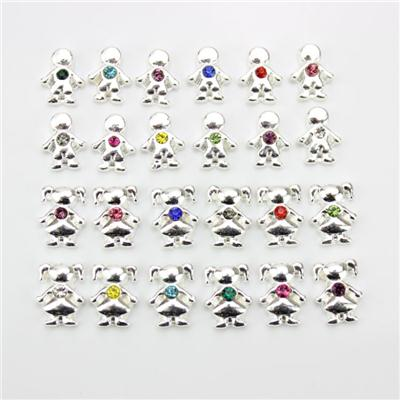 Boy And Girl Birthstone Charm