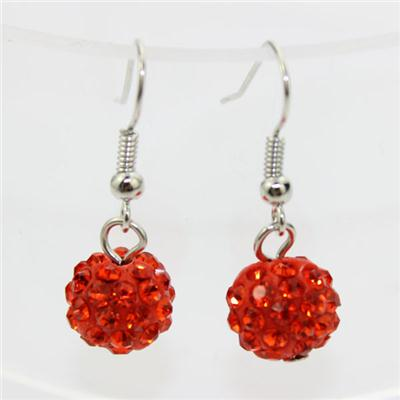 Name:Red Pave Ball Shamballa Earring