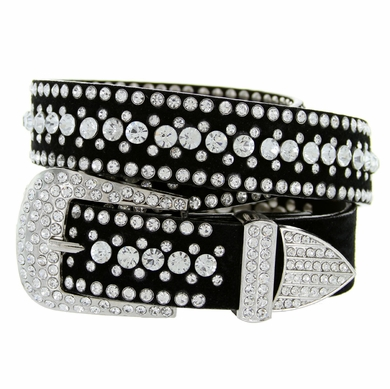 Women Rhinestones Studded Leather Fashion Belt
