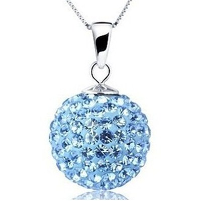 Blue Full Pave Ball Shamballa Necklace