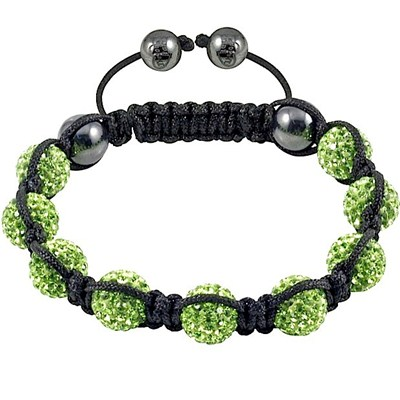 Wax Braided Shamballa Bracelet Pave With Green Rhinestones Beads