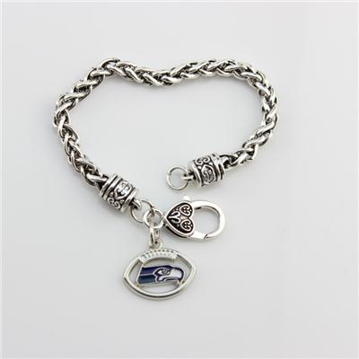 Hot Alloy NFL Antique Sliver Seattle Seahawks Football Charm Bracelet