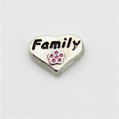 Family Heart Floating Charm