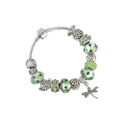 High Quanlity Promotion European Style Silver Glass Charm Bracelets And Bangles With Murano Glass Beads Jewelry