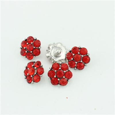 Large 22mm Flower Snap Button Jewelry With Red Crystals