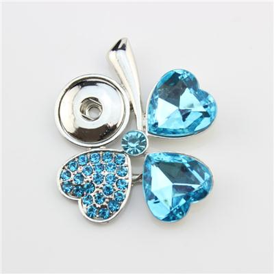 Silver Snap Button Clover Pendant With Blue Heart Crystals