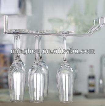 Double Row Metal Hanging Wine Glass Rack Under Cabinet Stemware Holders MH-GR-15015
