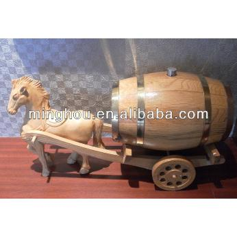 4.5l/5l Wooden Storage Wine Barrels, Decorative Barrel With Horse MH-WB-15011