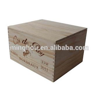 Double Bottle Pine Wood Wine Gift Box MH-WB-15022