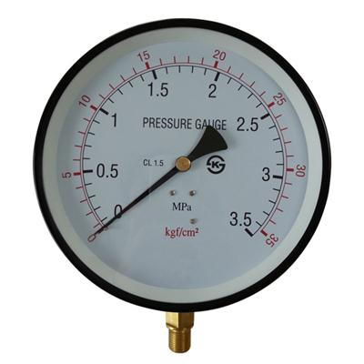 8inch-200mm Black Steel Case Brass Connection Bottom Thread Type Pressure Gauge