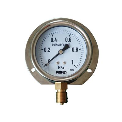 3inch-80mm Half Stainless Steel Bottom Type Liquid Filled Pressure Gauge With Flange