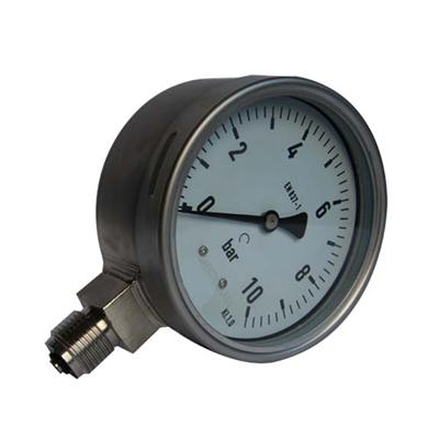 4inch-100mm Full Stainless Steel Bottom Thread Type Pressure Manometer