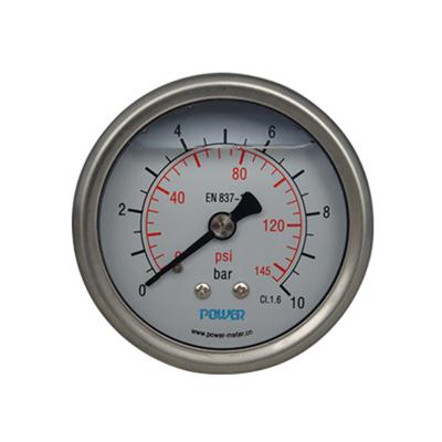 2.5inch-63mm Half Stainless Steel Back Type Liquid Filled Pressure Gauge2