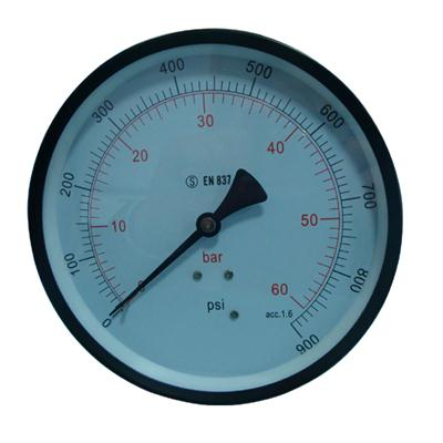 6inch-150mm Black Steel Case Brass Connection Back Thread Type Pressure Manometer