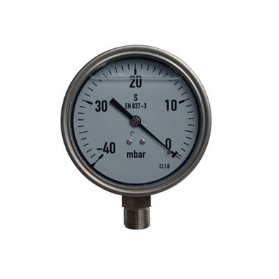 YE-100A 100mm Full Stainless Steel 40mbar Liquid Filled Capsule Pressure Gauge With Glycerin Oil